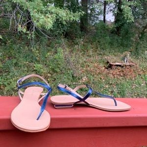 Delman 8M made in Italy blue strapped slate sandal